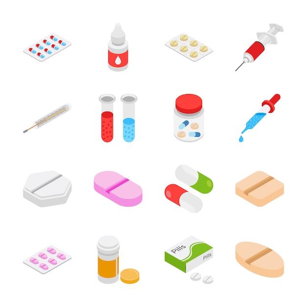 Лекарства изометрические иконы Premium векторы