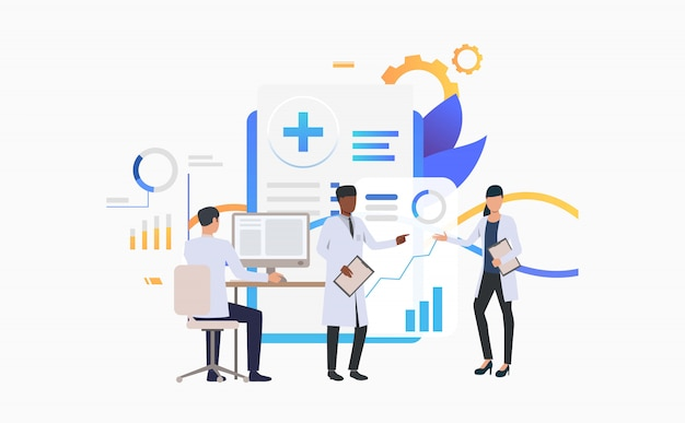 Medics working over charts Free Vector