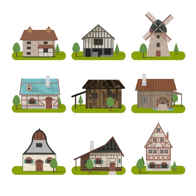 Medieval ancient buildings set Free Vector