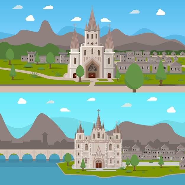 Medieval ancient temples horizontal compositions Free Vector