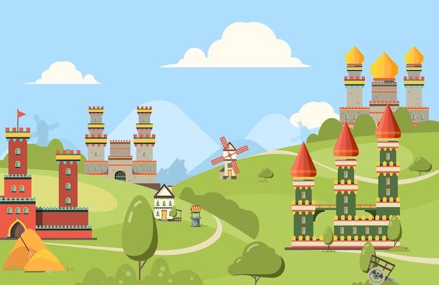 Средневековые постройки. горизонтальный фон зданий замков королевства из кирпича и дерева старая улица с башнями. Premium векторы