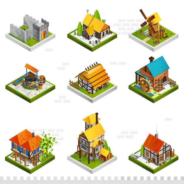 Medieval buildings isometric collection Free Vector