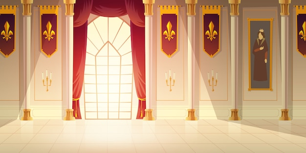 Free Vector Medieval Castle Ballroom Historical Museum Hall Cartoon Vector Background Shiny Tiled Floor Red Curtains On Big Window High Columns Flags With Heraldic Emblem And Tapestry On Walls Illustration