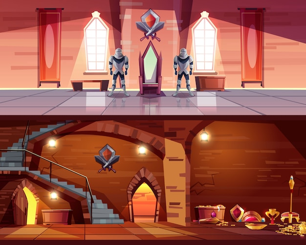 Medieval castle ballroom with knight guards near royal throne and ancient dungeon Free Vector