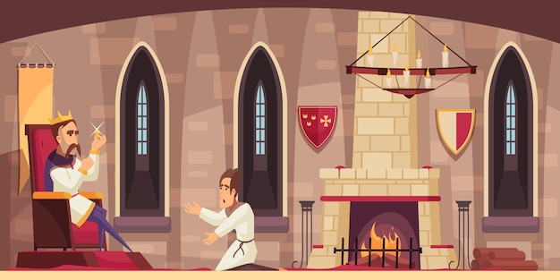Medieval castle hall interior with king on throne holding stolen treasure and kneeling servant cartoon Free Vector