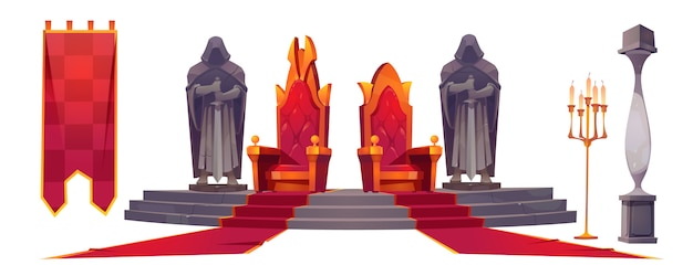 Medieval castle interior with gold royal thrones Free Vector
