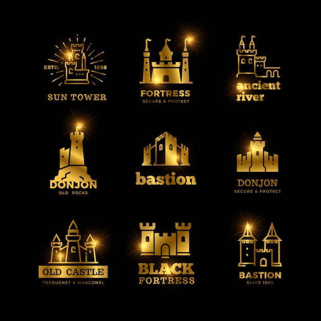 Medieval castle and knight fortress ancient royal logo Premium Vector