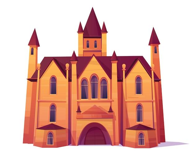 Medieval castle, luxury villa, mansion in victorian architecture style cartoon vector. Free Vector