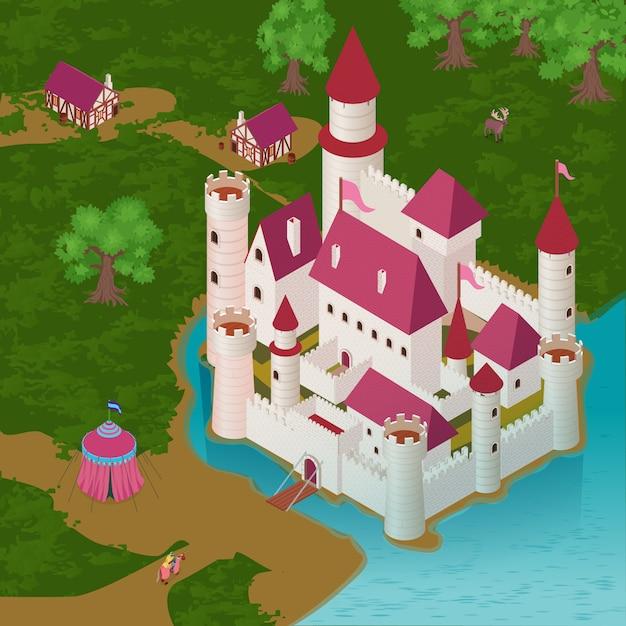 Средневековый замок на берегу реки с королевской палаткой рыцаря на коне дома горожан изометрии Бесплатные векторы