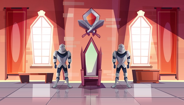 Medieval castle throne room or ballroom interior with knights in armor on both sides of king Free Vector