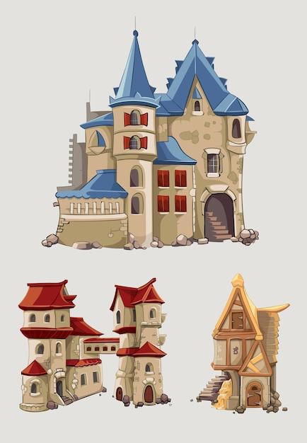 Средневековые замки и здания вектор в мультяшном стиле. фантастическая архитектура с башней, иллюстрация сказки королевства Бесплатные векторы