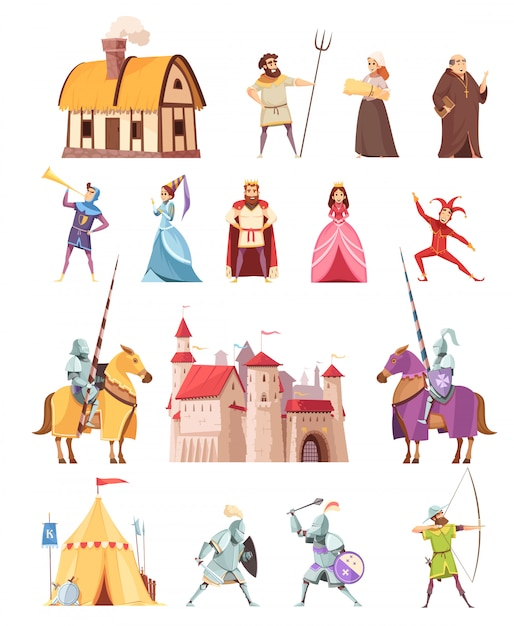 Medieval characters buildings icons set Free Vector