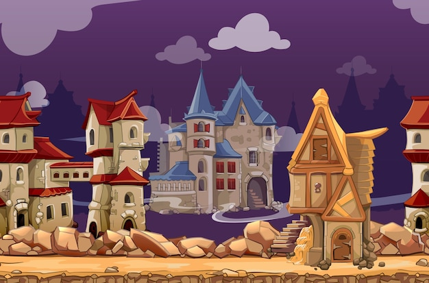 Medieval city seamless landscape background for computer game. interface panoramic, gui city or town, vector illustration Free Vector