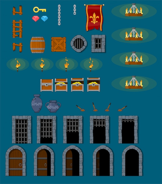 Medieval dungeon game objects Premium Vector