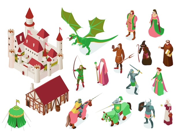 Medieval fairy tale isometric set with royal castle knights priest witch and dragon isolated Free Vector
