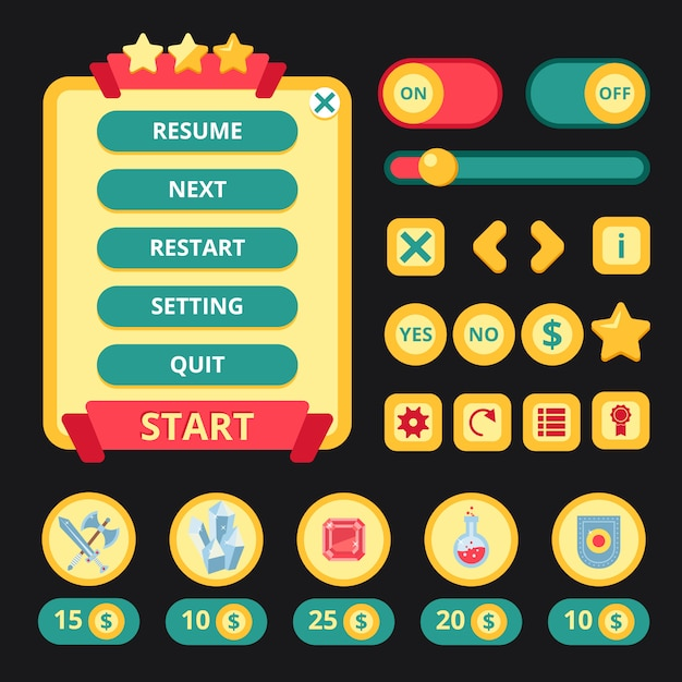 Medieval game interface Free Vector