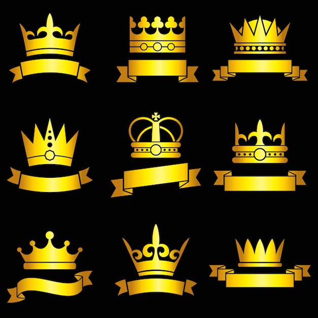 Corone d'oro medievali e set di nastri Vettore gratuito