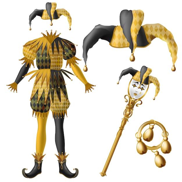 Средневековые элементы костюма шута, шляпа в клетку, черный и желтый цвета с колокольчиками Бесплатные векторы