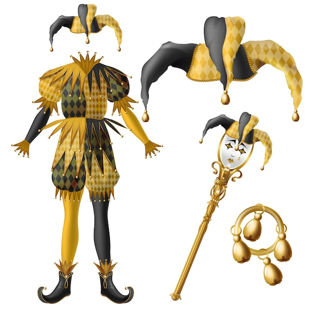 Medieval jester costume elements, checkered, black and yellow colors hat with bells Free Vector