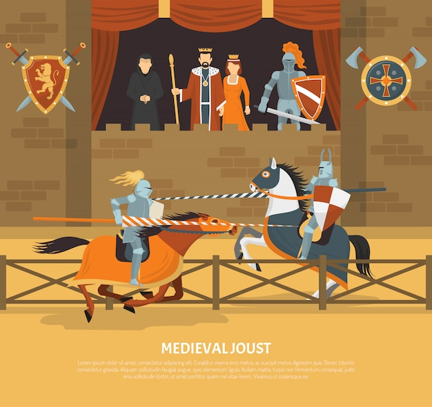 Medieval joust illustration Free Vector