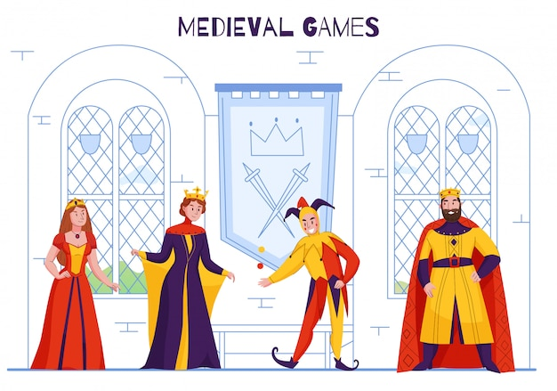 Medieval kingdom court jester in fools hat entertaining monarch juggling joking flat colorful royal characters vector illustration Free Vector