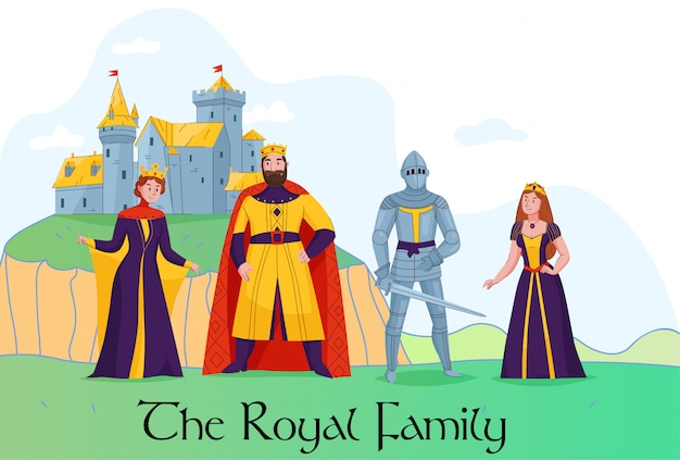 Medieval kingdom royal family standing in front of castle flat composition with king queen knight princess vector illustration Free Vector