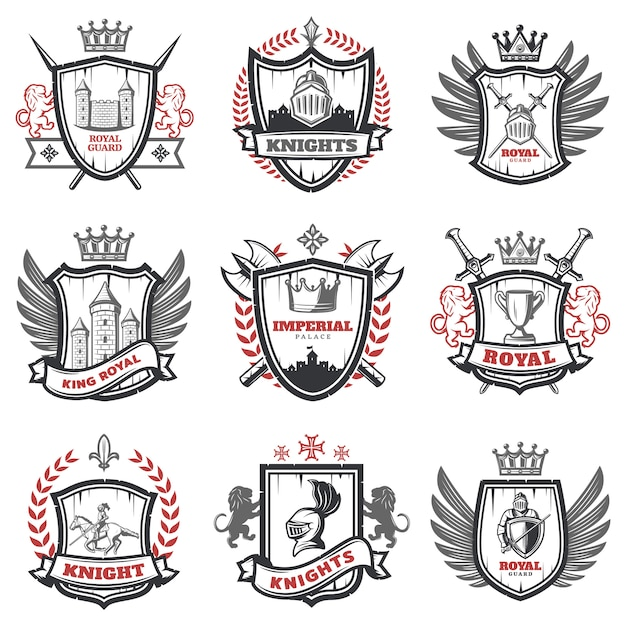 Medieval knight coats of arms set Free Vector
