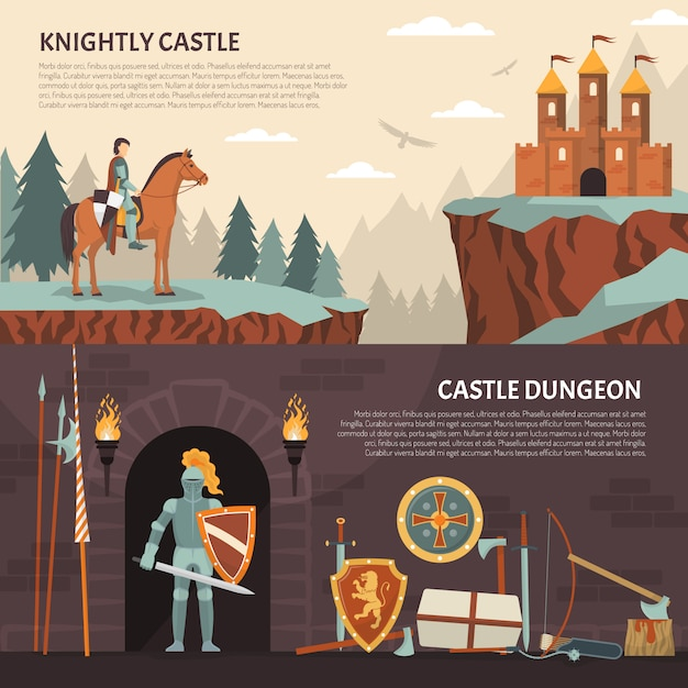 Medieval knight horizontal banners Free Vector