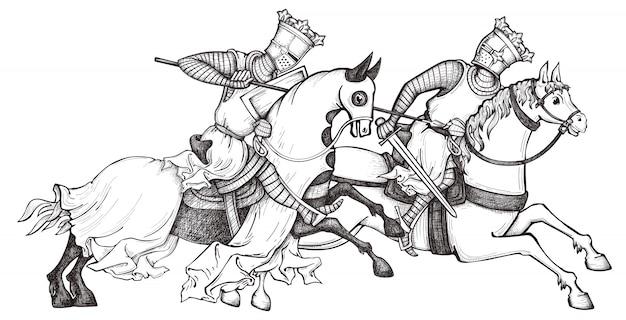 Средневековый рыцарь Premium векторы