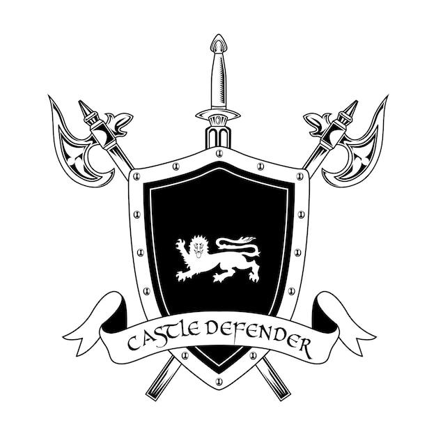 Illustrazione vettoriale di arma cavaliere medievale. testo di asce incrociate, spada, scudo e difensore del castello. concetto di guardia e protezione per modelli di emblemi o distintivi Vettore gratuito