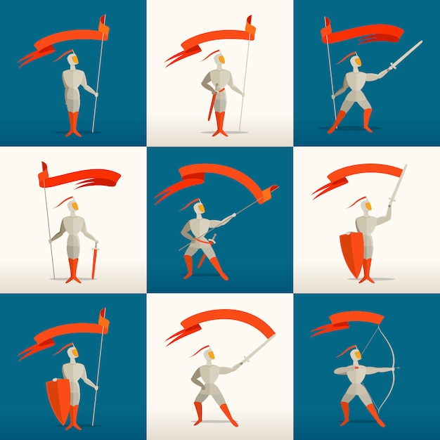 槍、剣、盾、弓と旗、バナー入り中世の騎士 Premiumベクター