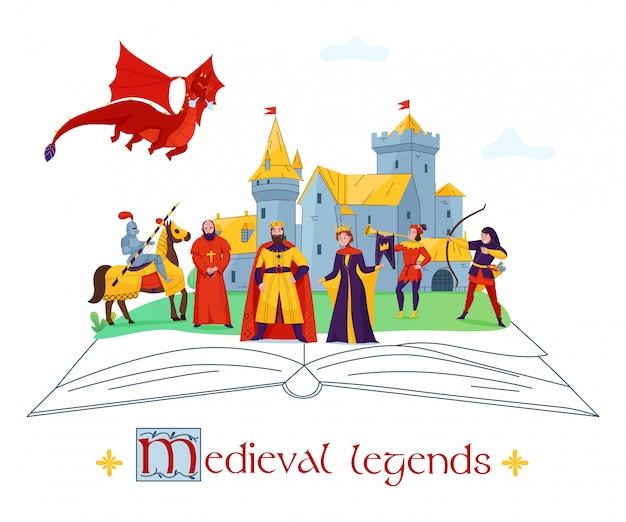 Composizione variopinta piana in concetto di racconti medievali di storie di leggende con i caratteri del regno del castello sull'illustrazione di vettore del libro aperto Vettore gratuito