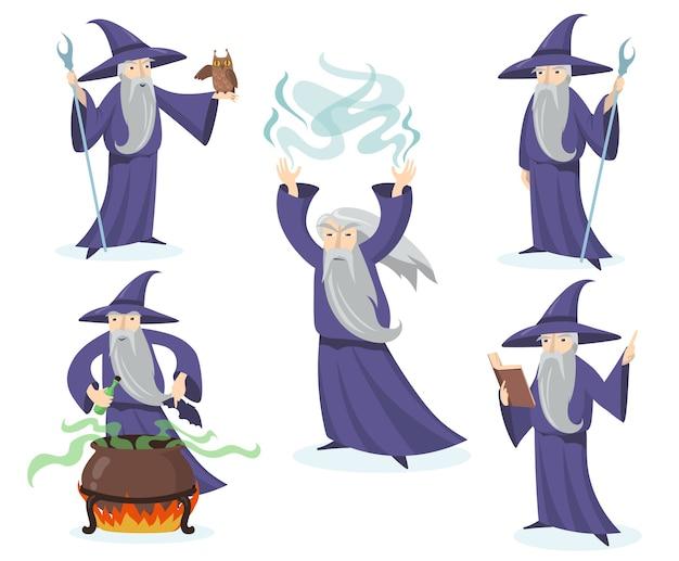 Medieval magician set. Free Vector