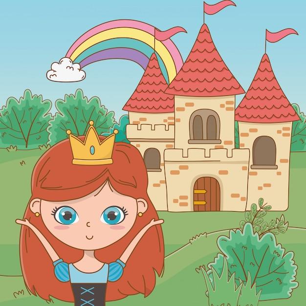Medieval princess cartoon Free Vector