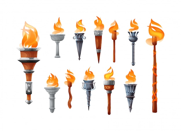 Medieval realistic torch with burning fire set. Premium Vector