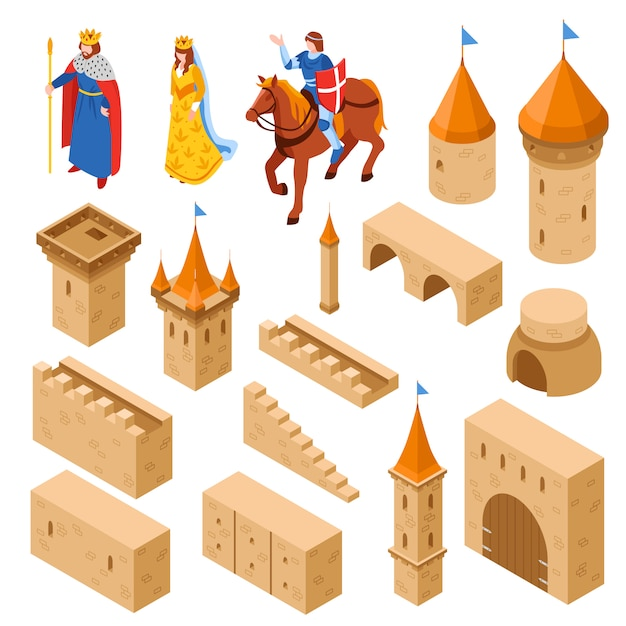 Medieval royal castle isometric set Free Vector