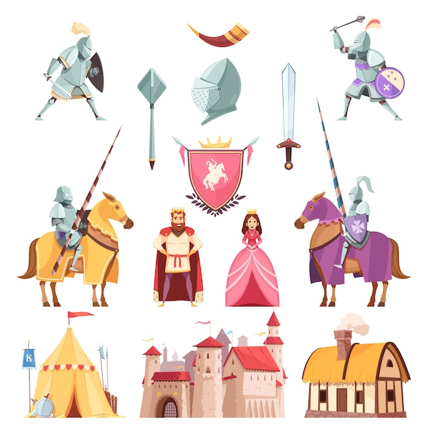 Medieval royal heraldry cartoon set Free Vector