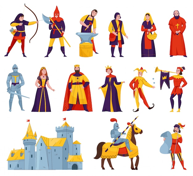 Medieval tales characters flat set with archer blacksmith king queen horn blower bishop warrior knight castle vector illustration Free Vector