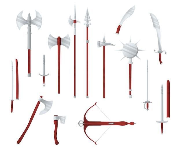 中世の戦争タイプの武器、セットコンセプトアイコンクロスボウ、剣、斧、パイクメイス、刀古い冷たい武器フラット、白で隔離。殺人の漫画装備、世界の近接武器。 Premiumベクター