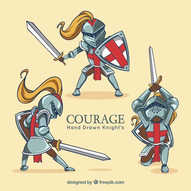 Medieval warrior at different poses Free Vector