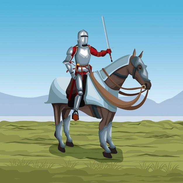 戦場での馬の中世の戦士   プレミアムベクター