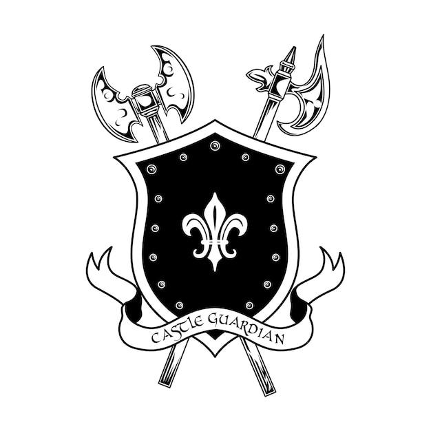 Illustrazione di vettore dell'arma di guerrieri medievali. asce incrociate, scudo e testo del guardiano del castello. concetto di guardia e protezione per modelli di emblemi o distintivi Vettore gratuito
