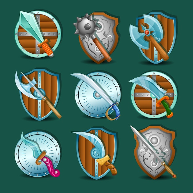 Medieval weapon and shields icon set Free Vector