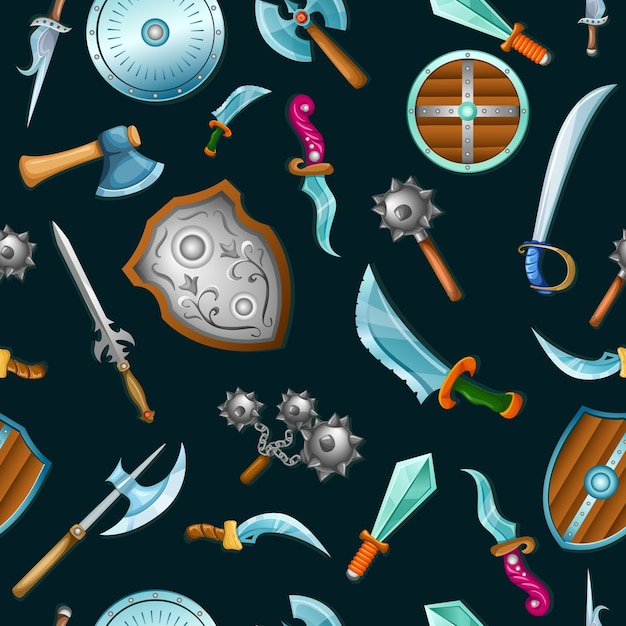 Medieval weapons seamless pattern Free Vector