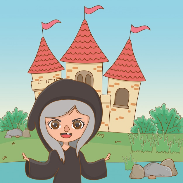 Medieval witch cartoon of fairytale Free Vector
