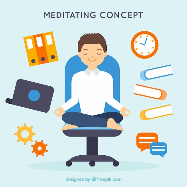 Meditating concept with flat businessman Free Vector