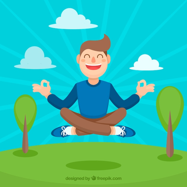 Meditating concept with flat design Free Vector