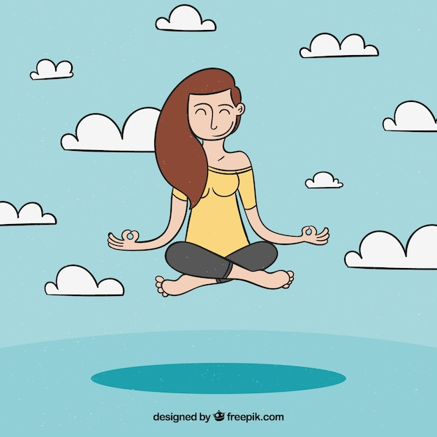 Meditating concept with hand drawn relaxed\ woman