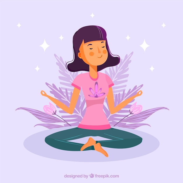 Meditating concept with hand drawn woman Free Vector