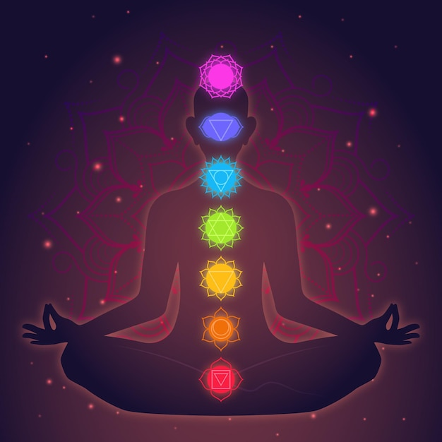 Концепция медитации и чакр Бесплатные векторы